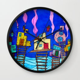 Tipsy Houses I Wall Clock