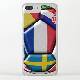 Russia 2018 - football ball with various flags Clear iPhone Case