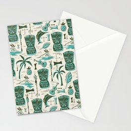 Tropical Tiki - Cream & Aqua Stationery Cards