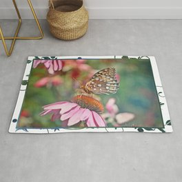 Butterfly on Echinacea Rug