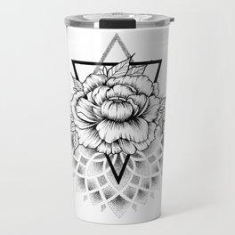 Dotwork mandala and flower Travel Mug