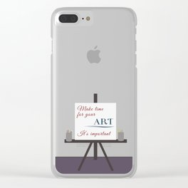 Make Time For Art (Colorful Calligraphy) Clear iPhone Case