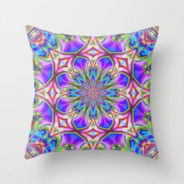 Ruby Red Spider Lily Detailed Neon Kaleidoscope Throw Pillow