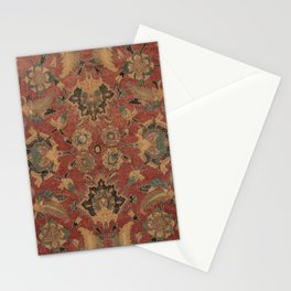 Flowery Boho Rug V // 17th Century Distressed Colorful Red Navy Blue Burlap Tan Ornate Accent Patter Stationery Cards