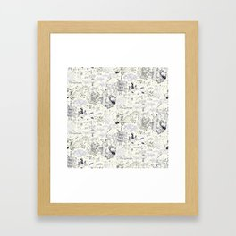 Chinoiserie pattern with dragons, bats, pagodas Framed Art Print