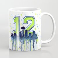 seahawks Mugs featuring Seattle 12th Man Art Skyline Watercolor  by Olechka