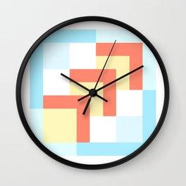 Squares Cyan + Burnt Umber Wall Clock