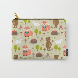 Hand drawn modern coral white green autumn animal Carry-All Pouch