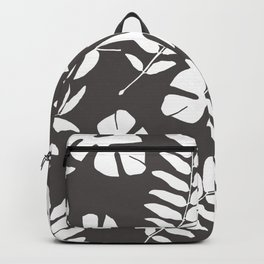 Monstera and Leaf grey Background Backpack