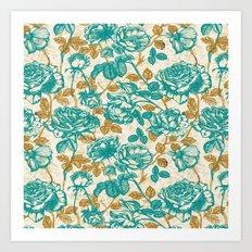 Cyan roses Toile de Jouy Art Print