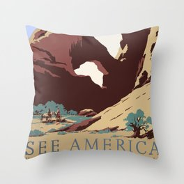 See America National Park Poster Throw Pillow