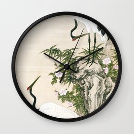 Cranes, Peach Tree, and Chinese Roses Wall Clock