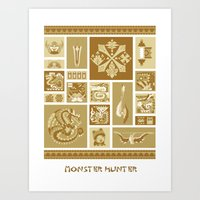 monster hunter Art Prints featuring Monster Hunter Colorized Poster by DistortedShadow