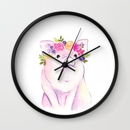Piglet watercolor Wall Clock