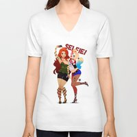 selfie V-neck T-shirts featuring Selfie! by Awdrey