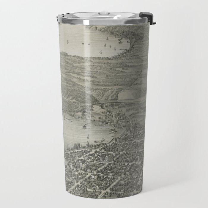 Vintage Pictorial Map of Lake Geneva WI (1882) Travel Mug