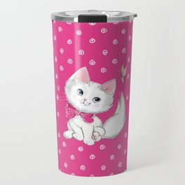 Cute White Kitten with Butterfly on Pink Background Travel Mug