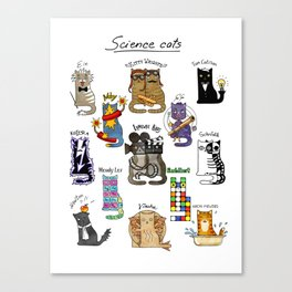 Science cats. History of great discoveries. Schrödinger cat, Einstein. Physics, chemistry etc Canvas Print