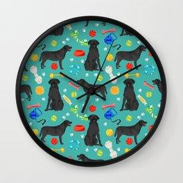 Black Lab dog toys cute dog breeds black labrador retriever gifts pet friendly Wall Clock