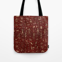 Ancient Egyptian Gods and hieroglyphs - Red Leather and gold Tote Bag
