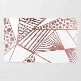 Geometrical modern faux rose gold abstract shapes Rug