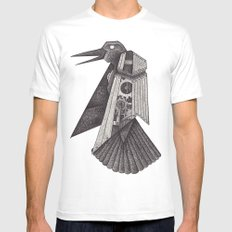 Robot bird White MEDIUM Mens Fitted Tee