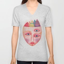 girl with the most beautiful eyes mask portrait Unisex V-Neck