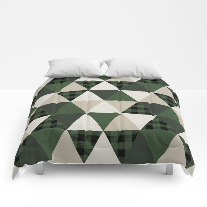 Hunter Green Camping Cabin Glamping Cheater Quilt Baby Nursery Gender Neutral Comforters