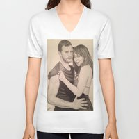 allyson johnson V-neck T-shirts featuring Jamie Dornan - Dakota Johnson by Virginieferreux