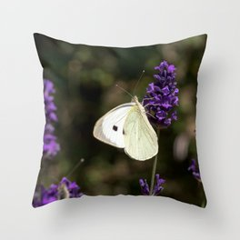 Relaxing butterfly on lavender Throw Pillow