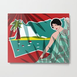 ANACAPRI: Art Deco Lady in Red and Turquoise Metal Print
