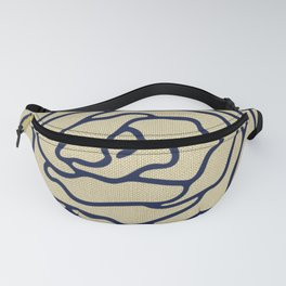Rose Nautical Navy Blue on Linen Fanny Pack