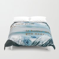 postcard Duvet Covers featuring Mountains Postcard by Darcy Lynn Designs