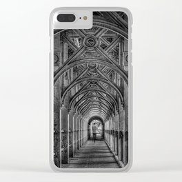High Level Bridge in Newcastle upon Tyne black and white Clear iPhone Case