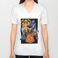 power rangers V-neck T-shirts featuring Villains in Mighty Morphin Power Rangers by Bowserina