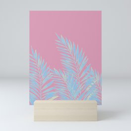 Palm Leaves Blue And Pink Mini Art Print