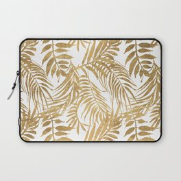 Elegant tropical gold white palm tree leaves floral Laptop Sleeve