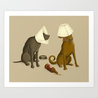 drunk Art Prints featuring Drunk Dog by Jonah Makes Artstuff