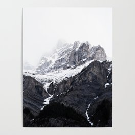 Moody snow capped Mountain Peaks - Nature Photography Poster