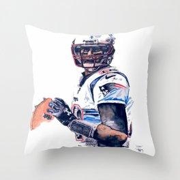 """GOAT"" featuring Legend Tom Brady Throw Pillow"
