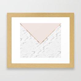 Peony blush geometric marble Framed Art Print
