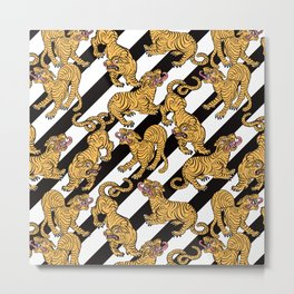Tiger Stripes Illustration Tropical Jungle Pattern Metal Print