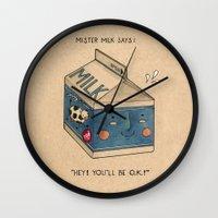 milk Wall Clocks featuring Milk by Felicia Chiao