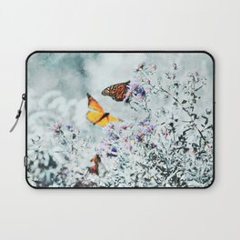 Monarch Butterflies and Purple Aster Flowers Teal Laptop Sleeve