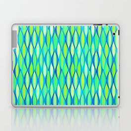 Mid-Century Ribbon Print, Turquoise and Lime Green Laptop & iPad Skin