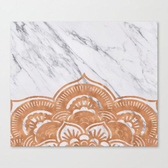 Copper mandala on marble Canvas Print