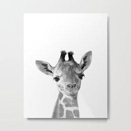 Baby Giraffe Black & White, Baby Animals Art Print by Synplus Metal Print
