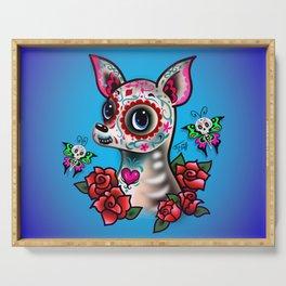 Sugar Skull Chihuahua with Roses Serving Tray