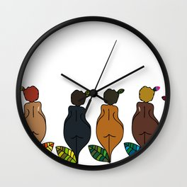 afro chicas 3 Wall Clock
