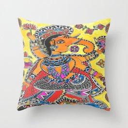 Madhubani - YellowGanesh Throw Pillow